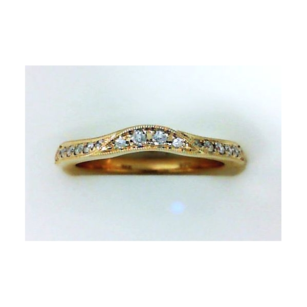 Wedding Band - White 14K Curved Wedding Band With 0.15Tw Round Diamonds