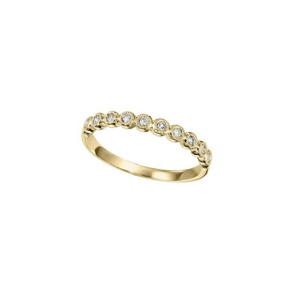 Wedding Band - Lady's Yellow 14K Bezel Wedding Band With 0.12Tw Rnd Dias