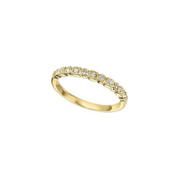 Wedding Band - Yellow 14K Milgrained Wedding Band With 0.11Tw Rnd Dias