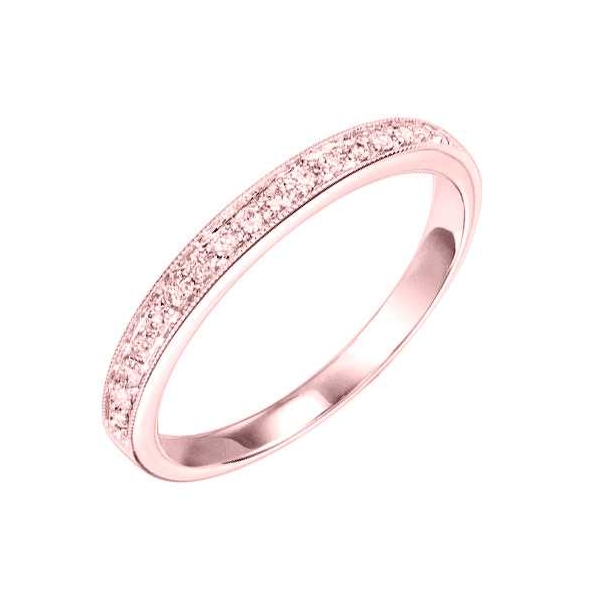 Wedding Band - Rose Gold 14K Milgrained Stackable Wedding Band With 0.12Tw Rnd Dias