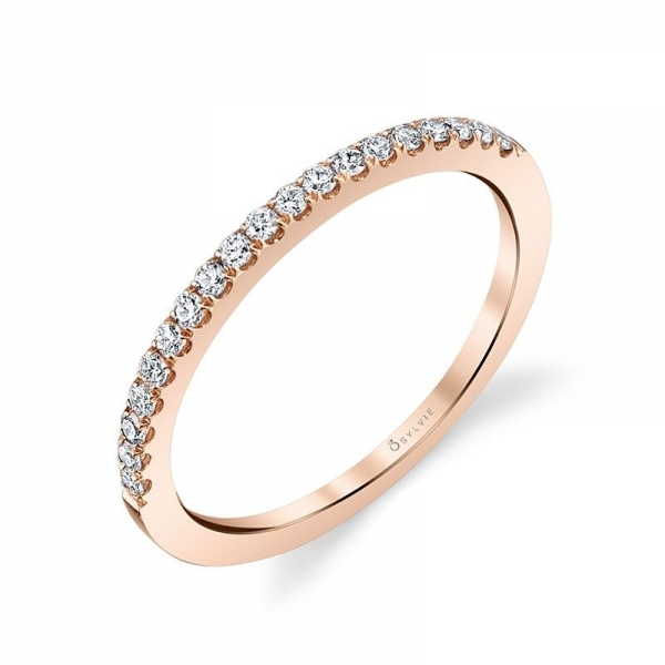 Wedding Band - Rose Gold 14K Stackable Wedding Band With 0.16Tw Round Diamonds