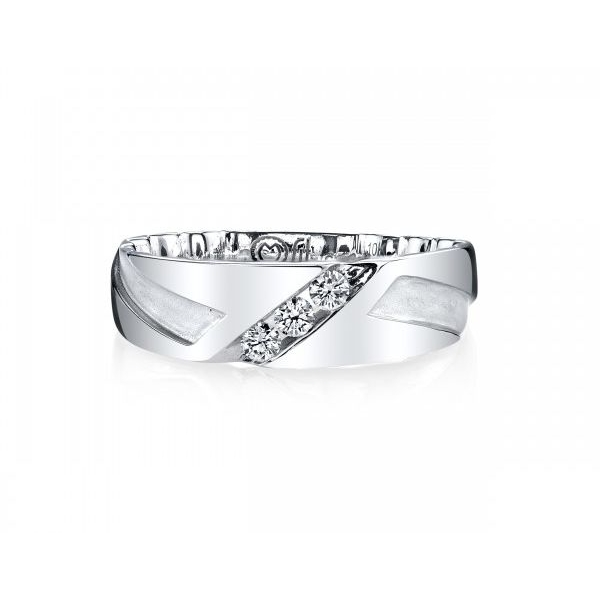 Wedding Band - White 10K Satin And Polished M Fit® Wedding Band Size 10 With 0.25Tw Round Diamonds MM: 7.5