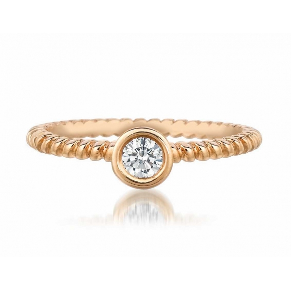 Fashion Ring - Rose Gold 18K Rope Style Stackable Fashion Ring Size 6.5 With One 0.16Ct Round Fm Dia Notes: FM62 Inscr: 5051815