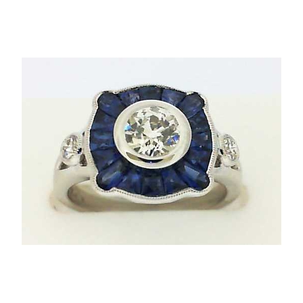 Fashion Ring - White 18K Fashion Ring With One 0.58Ct Euro Cut J Vs1 Dia, 1.38Tw Fancy Cut Sapphires And .12 Twt Rnd Dia's