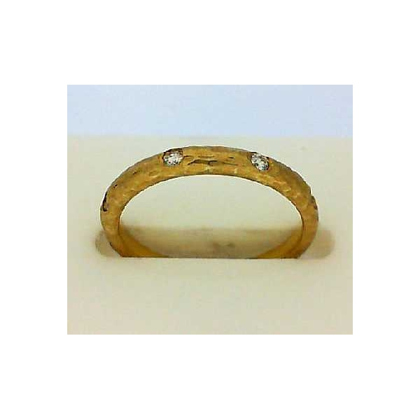 Fashion Ring - Yellow 14K Hammered Wedding Band With 0.13Tw Round Diamonds