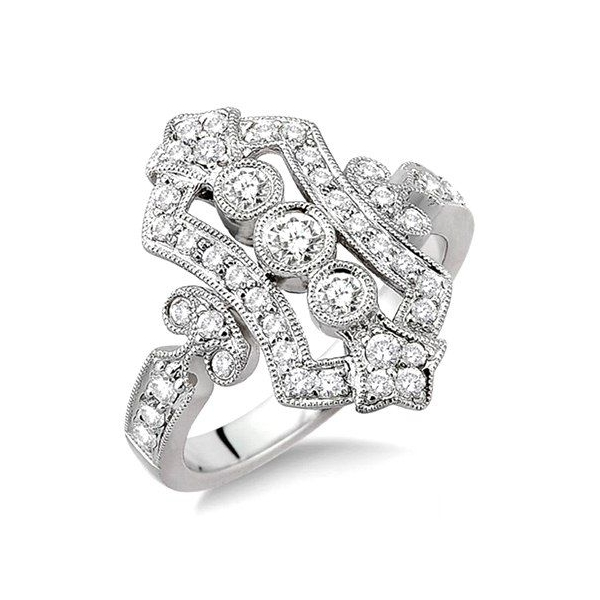 Fashion Ring - White 14K Milgrained Antique Style Fashion Ring With 0.80Tw Round H/I Si Diamonds