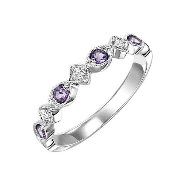 Fashion Ring - Rose Gold 14K Milgrained Stackable Fashion Ring With 0.15Tw Round Amethysts And 0.05Tw Rnd Dias