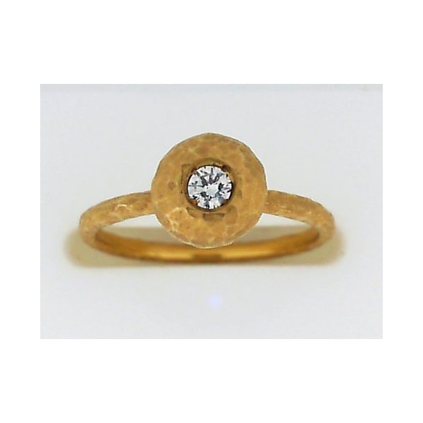 Fashion Ring - Yellow 14K Hammered Contemporary Fashion Ring With One 0.13Ct Round Diamond