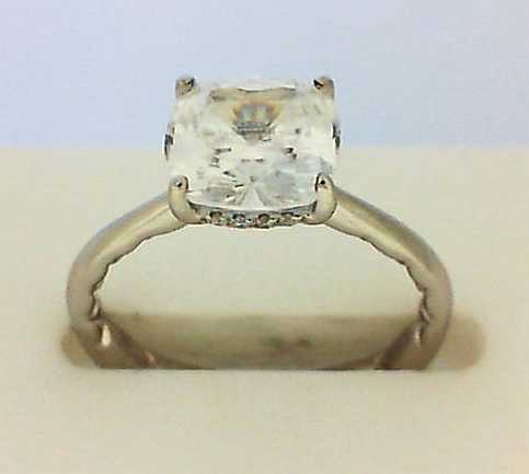 Semi- Mount - White 14K Contemporary Solitaire Semi- Mount Notes: For A 2.00ct Cushion Center (Not Included)