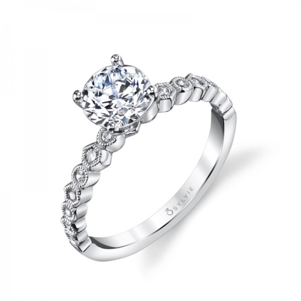 Semi- Mount - White 14K Milgrained Solitaire Semi- Mount Notes: CENTER STONE NOT INCLUDED