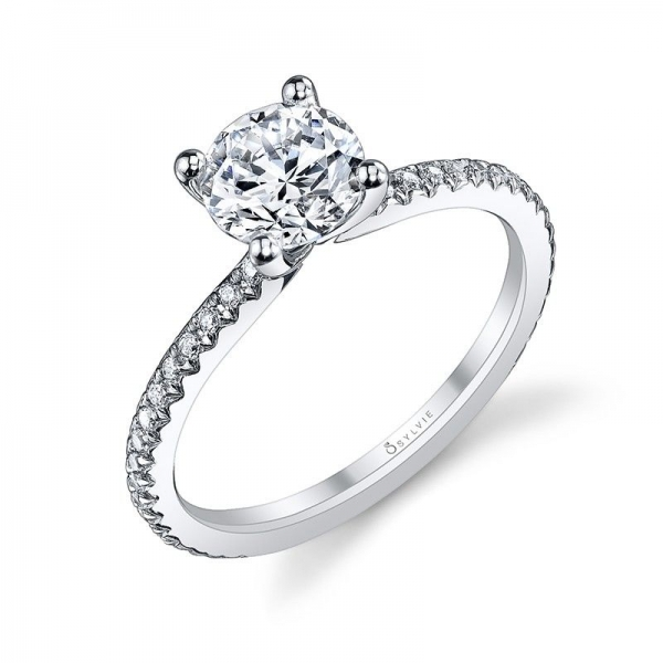 Semi- Mount - White 14K Classic Solitaire Semi- Mount With 0.21Tw Round Diamonds Notes: CENTER STONE NOT INCLUDED