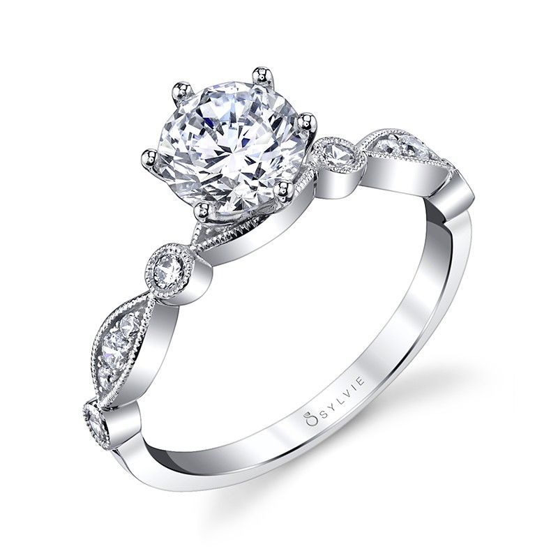 Semi- Mount - White 14K Milgrained Solitaire Semi- Mount With 0.18Tw Round Diamonds Notes: CENTER STONE NOT INCLUDED