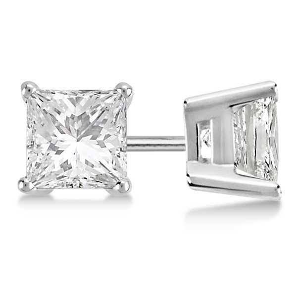 Stud Earrings - Lady's White 14 Kt Stud Earrings With 1.00Tw Princess G/H I1 Dias