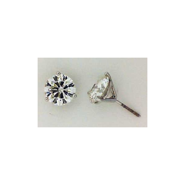 Stud Earrings - White 18K Martini Studs With One 2.03Ct Rnd I Si1 Dia And One 2.02Ct Rnd G Si1 Dia  Notes: #102 & #111