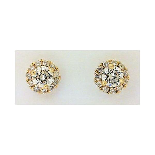 Stud Earrings - *ESTATE*  Yellow 14K Martini Halo Stud Earrings With 0.30Tw Round F Vs Diamonds