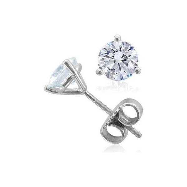 Stud Earrings - White 14K Martini Stud Earrings With 0.32Tw Round Diamonds