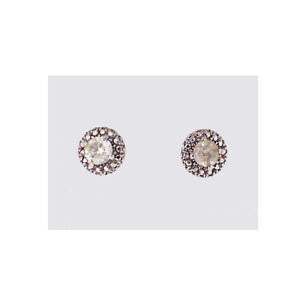 Stud Earrings - White 10K Halo Stud Earrings With 0.27Tw Round Diamonds