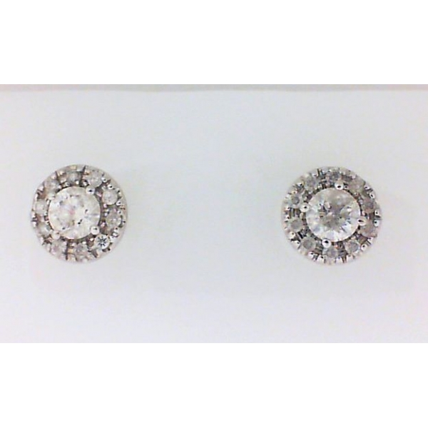 Stud Earrings - White 14K Halo Stud Earrings With 1.00Tw Round Diamonds