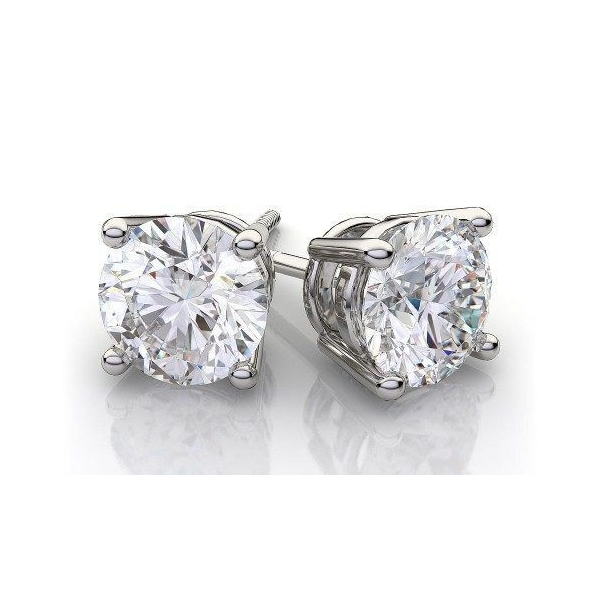 Stud Earrings - White 14K Stud Earrings With 1.04Tw Round Diamonds