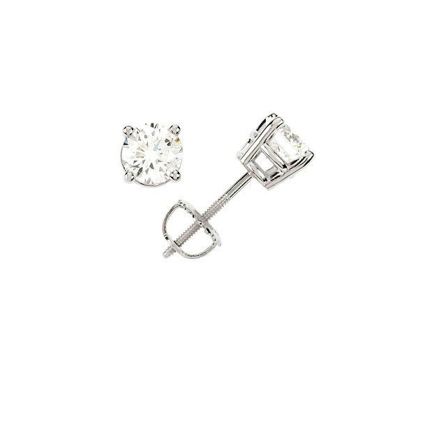 Stud Earrings - White 14K Stud Earrings With 0.66Tw Round H/I I1 Diamonds Notes: **ESTATE**