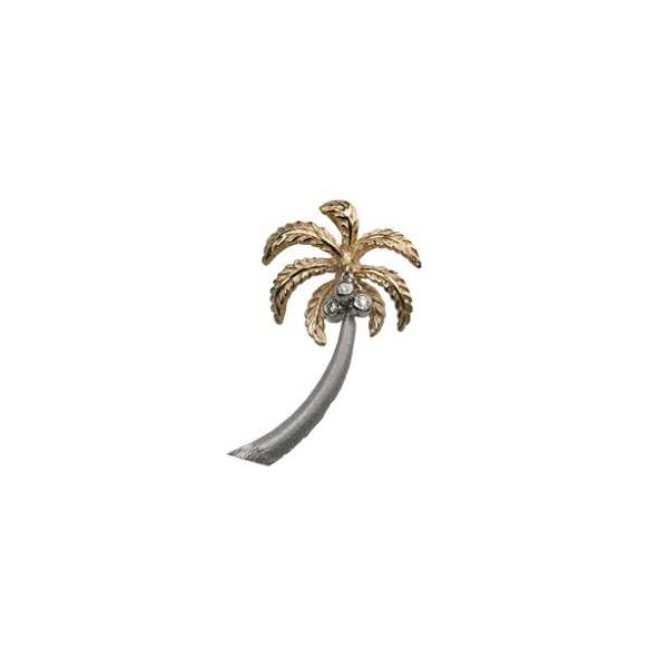 Pendant - Two-Tone 14K Diamond Cut Palm Tree Pendant With 0.40Tw Rnd Dias