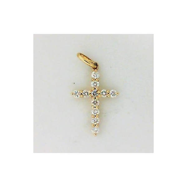 Pendant - Yellow 14K Cross Pendant With 0.28Tw Round Diamonds