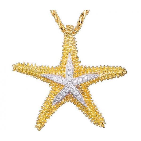 Pendant - Two-Tone 14K Starfish 30mm Pendant With .12Tw Rnd Dias