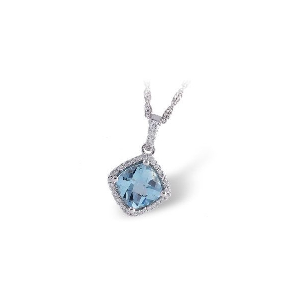 Pendant - White 14K Halo Pendant With One 1.16Ct Cushion Cut Aqua And 0.11Tw Round Diamonds