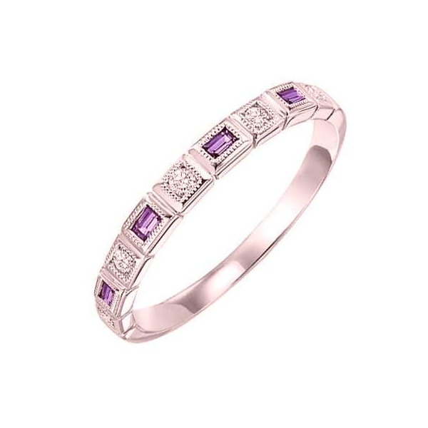 Ring - Rose Gold 14K Stackable Ring With 0.14Tw Baguette Amethyst And 0.08Tw Round Dias