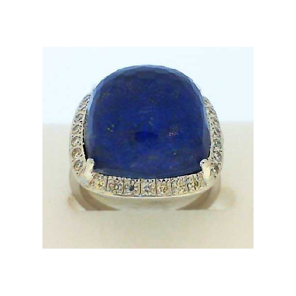 Ring - White 14K Contemporary Halo Ring With One 11.38Ct Rose Cut Quartz, With Fancy Cut Lapis And .32 Twt Round Diamonds