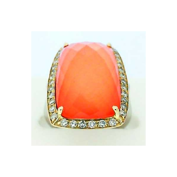 Ring - Two-Tone 14K Contemporary Ring And One 10.10Ct Rose Cut Quartz, One Inlay Pink Coral .40Tw Round Diamonds And .40Tw Round Diamonds