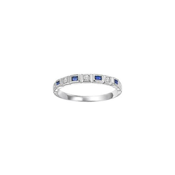 Ring - White 14K Milgrained Ring With 0.13Tw Baguette Sapphires And 0.08Tw Rnd Dias