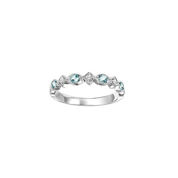 Ring - White 14K Milgrained Stackable Ring With 0.18Tw Round Topazs And 0.06Tw Round Diamonds
