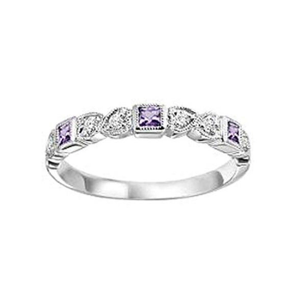Ring - White 14K Milgrained Stackable Ring With Synthetic Alexandrites And 0.09Tw Round Diamonds