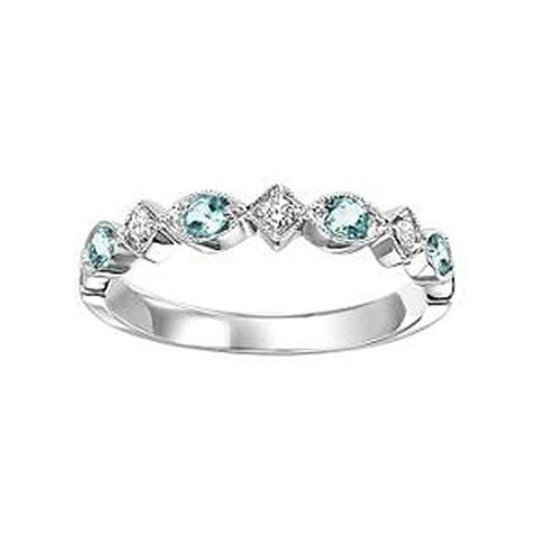 Ring - White 14K Milgrained Stackable Ring With 0.14Tw Round Aquas And 0.06Tw Round Diamonds