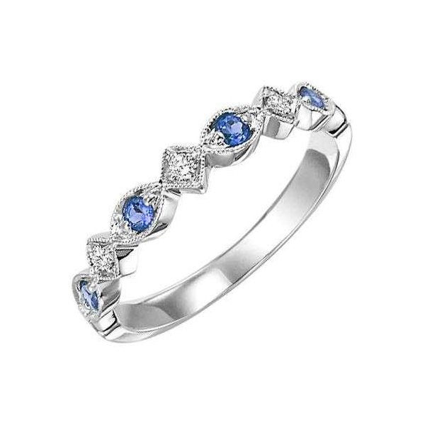 Ring - White 14K Milgrained Ring With 0.19Tw Round Sapphires And 0.05Tw Round Diamonds