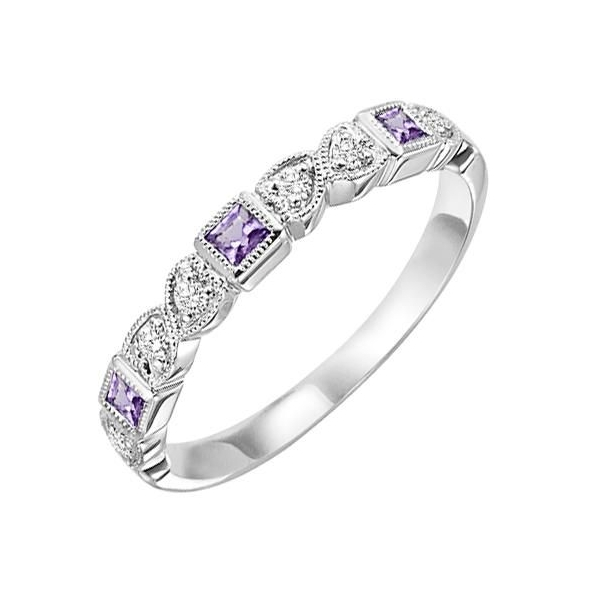 Ring - White 14K Milgrained Stackable Ring With 0.14Tw Square Amethysts And 0.09Tw Round Diamonds