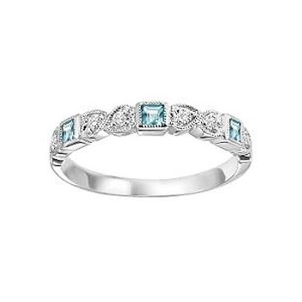 Ring - White 14K Milgrained Stackable Ring With 0.14Tw Square Aquas And 0.08Tw Round Diamonds