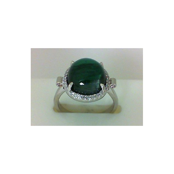 Ring - White 14K Halo Ring With One 7.21Ct Cabochon Cat's Eye Green Tourmaline, 0.16Tw Round Diamonds And .04 Twt Round Pink Diamonds