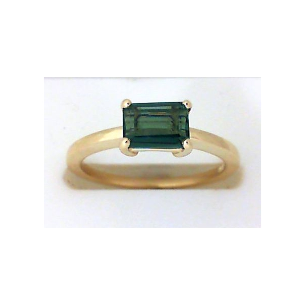 Ring - Yellow 14K Classic Ring With One 6.46X4.72Mm Emerald Cut Tourmaline