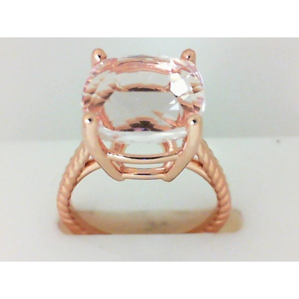 Ring - Rose Gold 14K Solitaire Ring With One 7.45Ct Cushion Cut Morganite