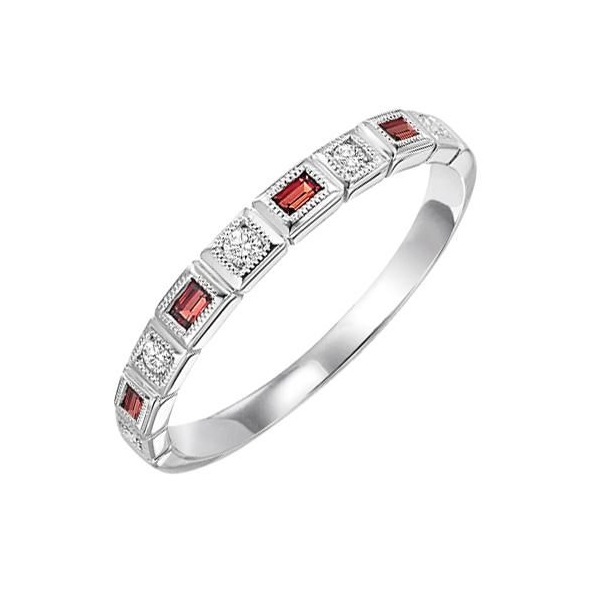 Ring - White 14K Stackable Ring With 0.17Tw Square Garnets And 0.09Tw Round Diamonds