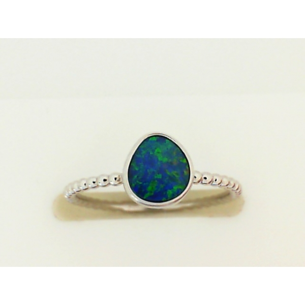Ring - White 14K Ring With One Inlay Australian Opal Doublet
