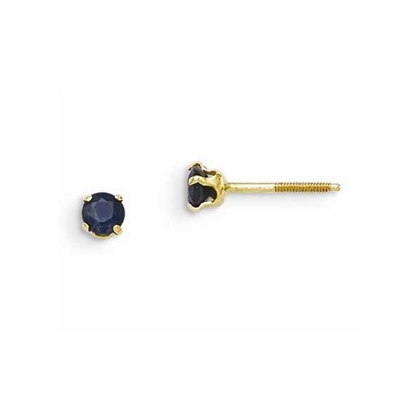 Earrings - Yellow 14K Children's Stud Earrings With Round Created Sapphires