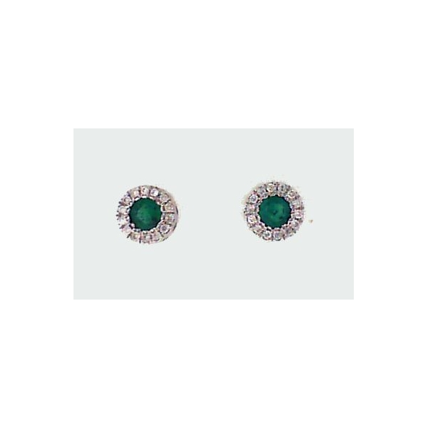 Earrings - White 14K Halo Earrings With Round Emeralds And 0.08Tw Round Diamonds