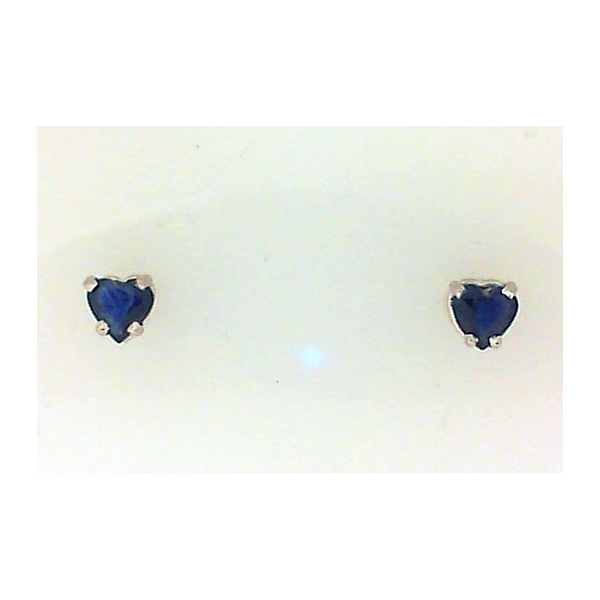 Earrings - Yellow 14K Stud Earrings With Heart Shaped Sapphires