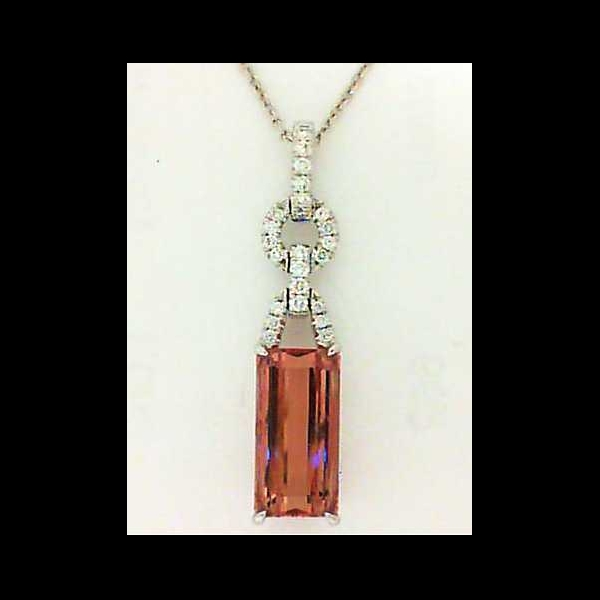 Pendant - White 18K Simon G Drop Pendant With One Emerald Cut Imperial Topaz And 0.13Tw Rnd Dias