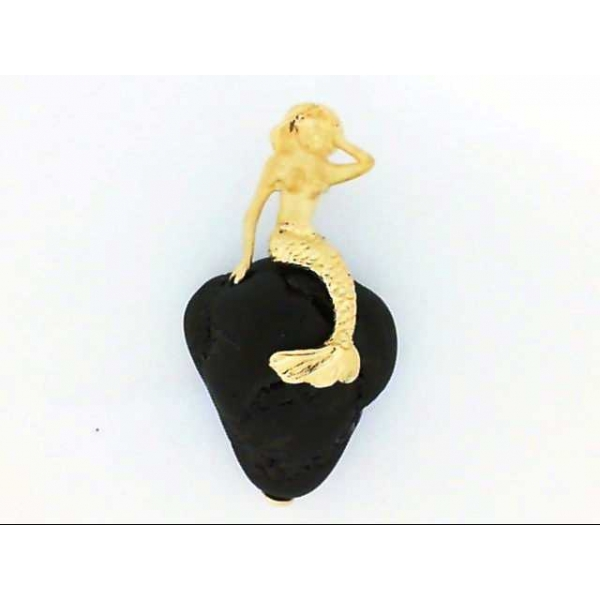 Pendant - Yellow 14K Mermaid Pendant With One Rough Cut Black Tourmaline