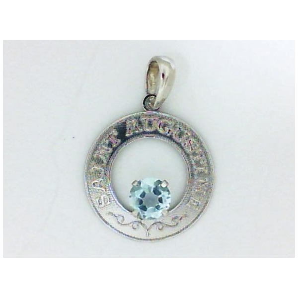Pendant - White 14K St Augustine Pendant With One Round Aqua