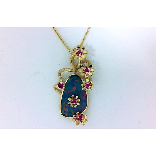 Pendant - Yellow 14K Floral Pendant With One Oval Australian Opal Doublet And 0.16Tw Round Pink Sapphires